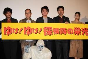 (左から)川村陽介、田中要次、藤原竜也、小澤征悦、佐野ひなこ