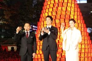 (左から)野村忠宏氏、堤真一、ホラン千秋