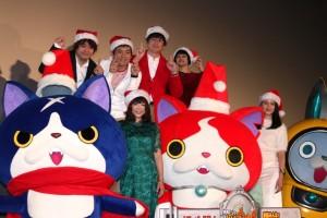 (前列左から)フユニャン、堀ちえみ、ジバニャン、長澤まさみ、USAピョン、(後列左から)日野晃博氏、博多華丸・大吉、小桜エツコ