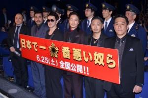 (左から)白石和彌監督、植野行雄、中村獅童、綾野剛、YOUNG DAIS、ピエール瀧