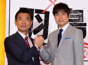 橋下徹氏(左)と羽鳥慎一アナウンサー