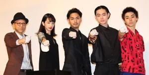 (左から)真利子哲也監督、小松菜奈、柳楽優弥、菅田将暉、村上虹郎