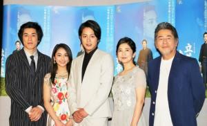 (左から)高畑裕太、平祐奈、溝端淳平、宮崎美子、古谷一行