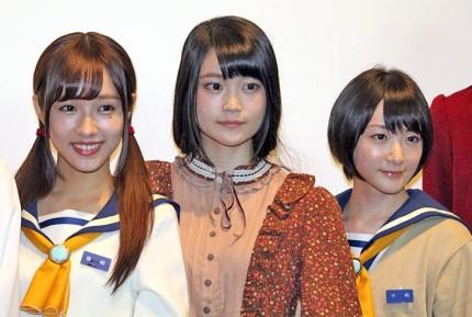 (左から)前田希美、石森虹花、生駒里奈