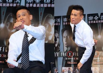持ちネタで会場を盛り上げた柳沢慎吾(左は「ひとりFBI」右は「ひとり高校野球」)