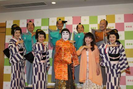 (前列左から)池田夏希、磯山さやか、志村けん、大場久美子、麻美ゆま、(後列左から)寺門ジモン、肥後克広、上島竜兵、桑野信義