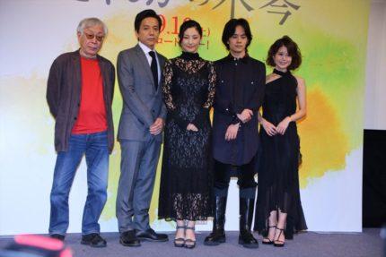 (左から)東陽一監督、勝村政信、常盤貴子、池松壮亮、佐津川愛美