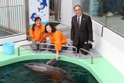 「イルカにタッチ」コーナーで笑顔を見せる松岡茉優(中央)