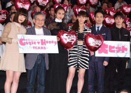 (左から)今井れん、永井豪氏、石田ニコル、西内まりや、三浦貴大、永瀬匡