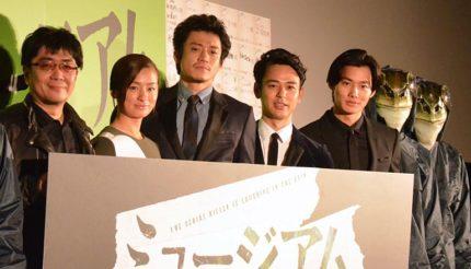 (左から)大友啓史監督、尾野真千子、小栗旬、妻夫木聡、野村周平