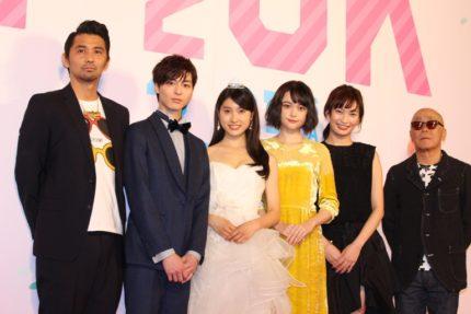 (左から)村上淳、高杉真宙、土屋太鳳、玉城ティナ、大政絢、廣木隆一監督