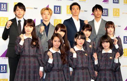 (前列)乃木坂46のメンバーたち、(後列)パルクール集団「URBAN UNION」のメンバーたち