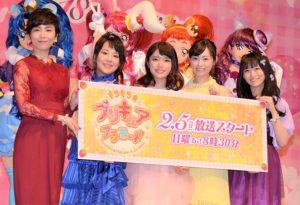 「キラキラ☆プリキュアアラモード」で声を務める、(左から)森なな子、村中知、美山加恋、福原遥、藤田咲