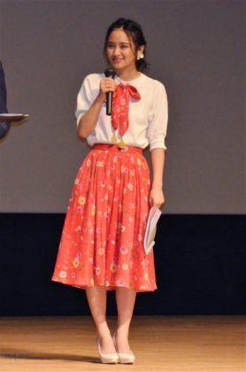 交通安全大使の岡田結実が交通安全宣言を行った